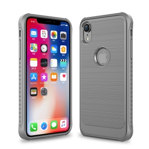 Brushed Surface TPU PC Hybrid Shockproof Phone Cover for iPhone XR 6.1-inch - Grey