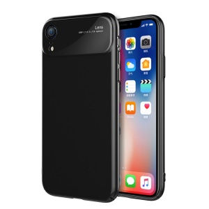 Tempered Glass Lens PC Phone Case for iPhone XR 6.1 inch - Jet Black