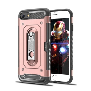 Armor Rugged PC + TPU Combo Cell Phone Shell with Kickstand for iPhone 8 / 7 4.7 inch - Rose Gold