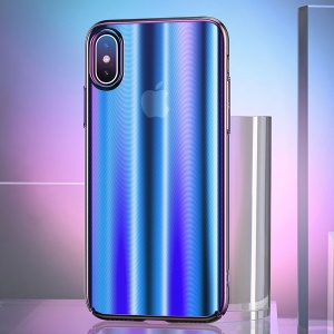 USAMS US-BH430 Sanz Series Electroplating PC Back Cover for iPhone X - Blue