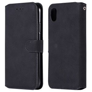 Premium Vintage PU Leather Wallet Phone Case with Stand for iPhone 9 Plus - Black