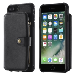 Multi-functional Zipper Wallet Leather Coated TPU Phone Case for iPhone 8 Plus / 7 Plus / 6s Plus / 6 Plus - Black