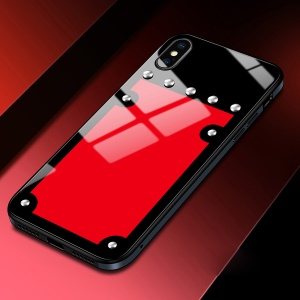 SULADA Metal Frame + Tempered Glass Back Protection Case with Rivet Decor for iPhone X 5.8 inch - Red / Black