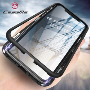 CASEME Detachable Magnetic PC Frame + Glass Back Phone Case for iPhone X - Black