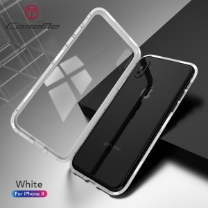 CASEME Detachable Magnetic PC Frame + Glass Back Phone Cover for iPhone X - White