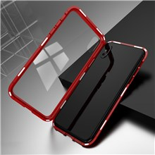 CASEME Detachable Magnetic PC Frame + Glass Back Phone Shell for iPhone X - Red
