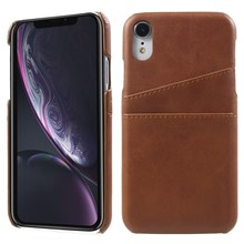 Double Card Slots PU Leather Coated PC Cell Phone Casing for iPhone XR 6.1-inch - Coffee