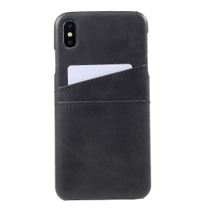 Double Card Slots PU Leather Coated PC Hard Cover for iPhone Xs Max 6.5 inch - Black