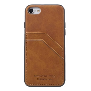 Retro Style PU leather Coated TPU Dual Card Slot Protective Shell for iPhone SE 2nd Gen (2020)/8/7 - Brown