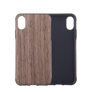 Wood Grain Leather Coated TPU Protection Phone Case for iPhone XR 6.1 inch - Grey