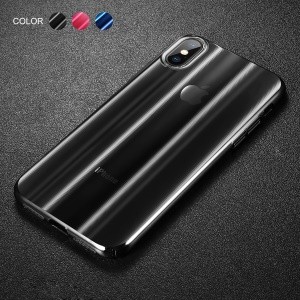 BASEUS Aurora Series Electroplating Hard PC Case for iPhone Xs 5.8-inch - Transparent Black