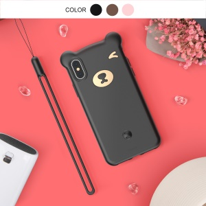 BASEUS 3D Bear Silicone Soft Phone Case for iPhone Xs 5.8 inch - Black