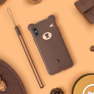 BASEUS 3D Bear Silicone Soft Phone Cover for iPhone Xs 5.8 inch - Brown