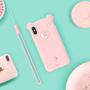 BASEUS 3D Bear Silicone Soft Phone Shell for iPhone Xs 5.8 inch - Pink