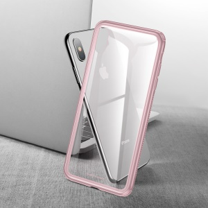 BASEUS See-through Glass + Soft TPU Hybrid Shell Case for iPhone XS / X 5.8 inch - Pink