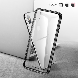 BASEUS See-through Glass + Soft TPU Hybrid Mobile Phone Case for iPhone XS Max 6.5 inch - Black