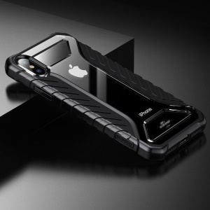 BASEUS Tyre Series for iPhone Xs 5.8-inch Silicone + Acrylic Anti-slip Shockproof Hybrid Case - Black