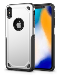 Hybrid PC + TPU Armor Rugged Phone Case for iPhone XS Max 6.5 inch - Silver