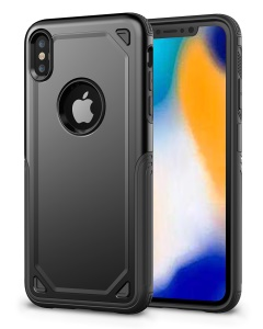 Hybrid PC + TPU Armor Rugged Phone Cover for iPhone XS Max 6.5 inch - Black