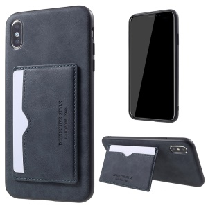 PU Leather Coated TPU Card Holder Case with Kickstand for iPhone XS Max 6.5 inch - Grey