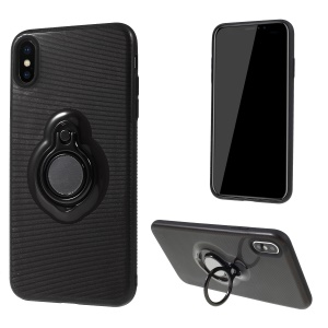 Stripes Pattern PC + TPU Hybrid Case with Kickstand for iPhone XS Max 6.5 inch - Black