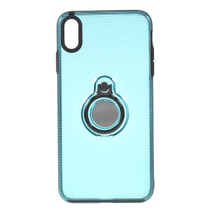 Stripes Pattern PC + TPU Hybrid Phone Cover Shell with Kickstand for iPhone XS Max 6.5 inch - Blue