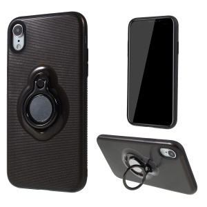 Stripes Pattern PC + TPU Hybrid Back Case with Kickstand for iPhone XR 6.1 inch - Black