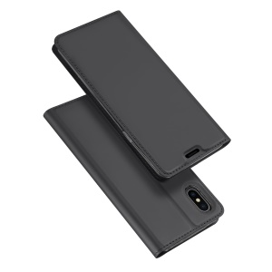 DUX DUCIS Skin Pro Series Card Holder Stand Leather Mobile Case for iPhone XS Max 6.5 inch - Dark Grey