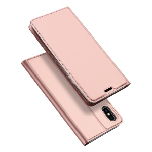 DUX DUCIS Skin Pro Series Card Slot Stand Leather Mobile Cover for iPhone XS Max 6.5 inch - Rose Gold
