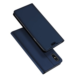 DUX DUCIS Skin Pro Series Card Holder Stand Leather Casing for iPhone XS Max 6.5 inch - Blue
