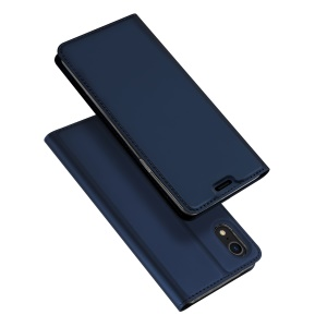 DUX DUCIS Skin Pro Series Card Holder Stand Leather Mobile Casing for iPhone XR 6.1 inch - Dark Blue