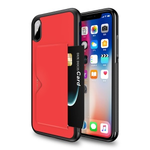 DUX DUCIS Pocard Series for iPhone XS Max 6.5 inch PU Leather Coated PC TPU Hybrid Cover Shell - Red