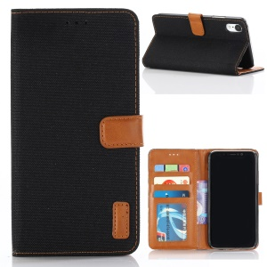 Oxford Cloth Wallet Stand PU Leather Cover for iPhone XR 6.1 inch - Black