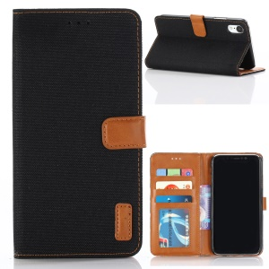 Oxford Cloth Wallet Stand PU Leather Cover for iPhone XS Max 6.5 inch - Black