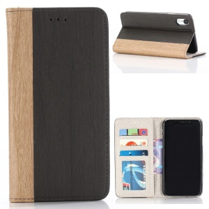 For iPhone XR 6.1 inch Wood Texture PU Leather Wallet Stand Phone Case - Black