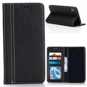 Vintage PU Leather Wallet Stand Cell Phone Case for iPhone XR 6.1 inch - Black
