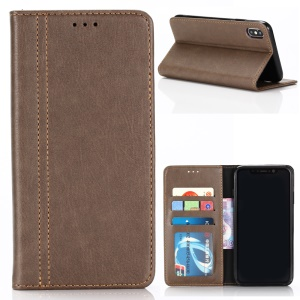 Vintage PU Leather Wallet Stand Mobile Phone Shell for iPhone XR 6.1 inch - Coffee