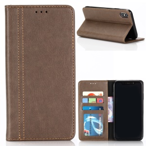 Retro Style Wallet Leather Cell Phone Shell for iPhone XS Max 6.5 inch - Coffee