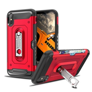 Armor Rugged PC + TPU Hybrid Case with Kickstand for iPhone XS Max 6.5 inch - Red