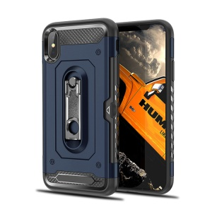 Armor Rugged Plastic + TPU Combo Cover with Kickstand for iPhone XS Max 6.5 inch - Blue