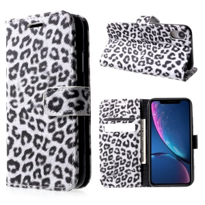 Leopard Pattern Wallet Stand Leather Phone Case for iPhone XR 6.1 inch - White