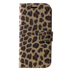 Leopard Pattern Wallet Stand Leather Phone Shell for iPhone XR 6.1 inch - Brown