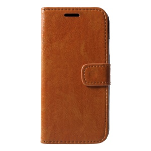 Crazy Horse PU Leather Flip Stand Phone Cover for iPhone XR 6.1 inch - Brown