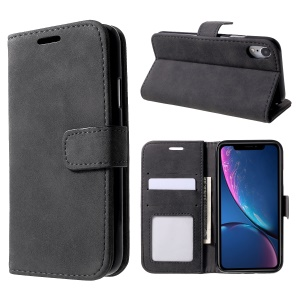 Retro Style Leather Wallet Flip Phone Case with Stand for iPhone XR 6.1 inch - Black