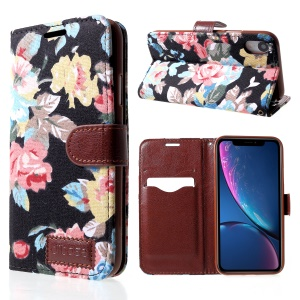 Flower Cloth PU Leather Stand Card Holder Cover for iPhone XR 6.1 inch - Black