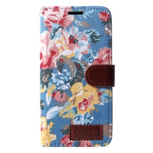 Flower Cloth PU Leather Stand Card Holder Shell for iPhone XR 6.1 inch - Blue