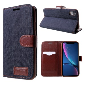Jeans Cloth Texture Card Slots Stand Leather Flip Case for iPhone XR 6.1 inch - Black Blue