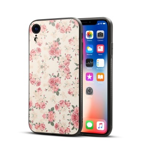 Pattern Printing PU Leather Coated PC + TPU Hybrid Case for iPhone XR 6.1 inch - Peony