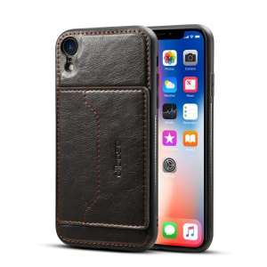 Crazy Horse Leather Coated PC + TPU Hybrid Card Holder Case with Kickstand for iPhone XR 6.1 inch - Black