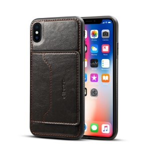 Crazy Horse Leather Coated PC + TPU Hybrid Card Holder Case with Kickstand for iPhone XS Max 6.5 inch - Black